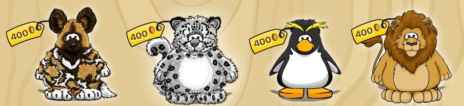 Hyena, sněžný leopard, tučňák skalní a lev
