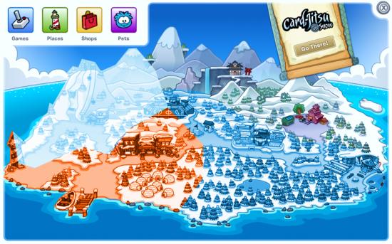hodně hrubá mapa ostrova
